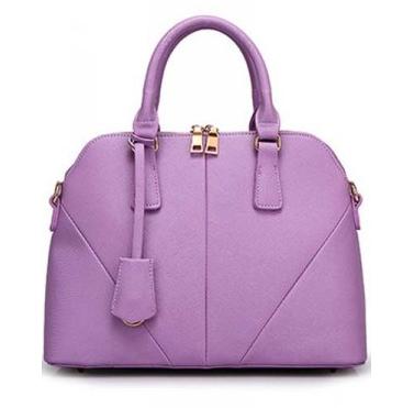 Faux Leather Top Zipper Tote – Light Purple
